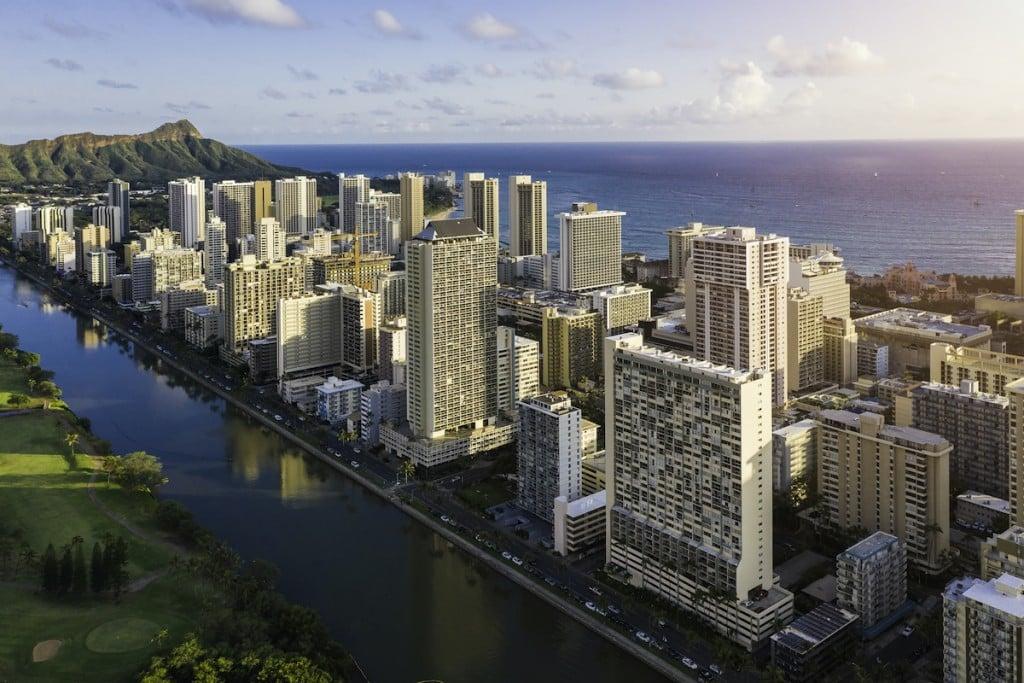 Tall Buildings At Waikiki Beach And Wai Canal In Honolulu, Hawaii