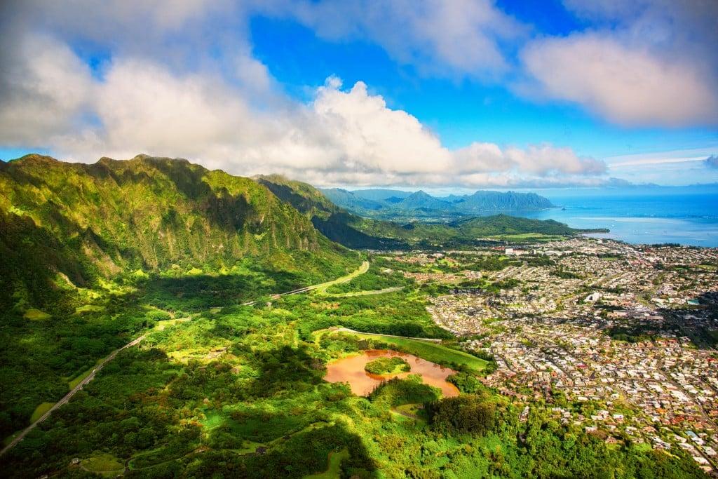 Suburban Oahu Aerial Landscape
