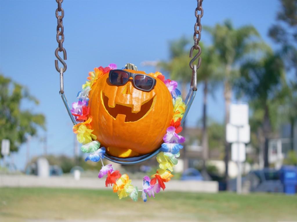 Happy Halloween Pumpkin On The Swing