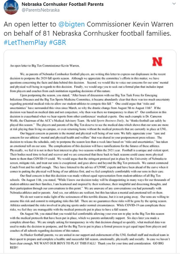 Neb Parents Letter