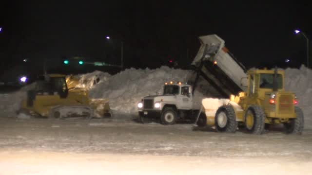 Snow Rounded Up And Disposed Near Oak Lake Park