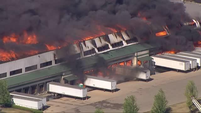 Aerials Of A Massive Fire At A Manufacturing Plant In Rockton, Il
