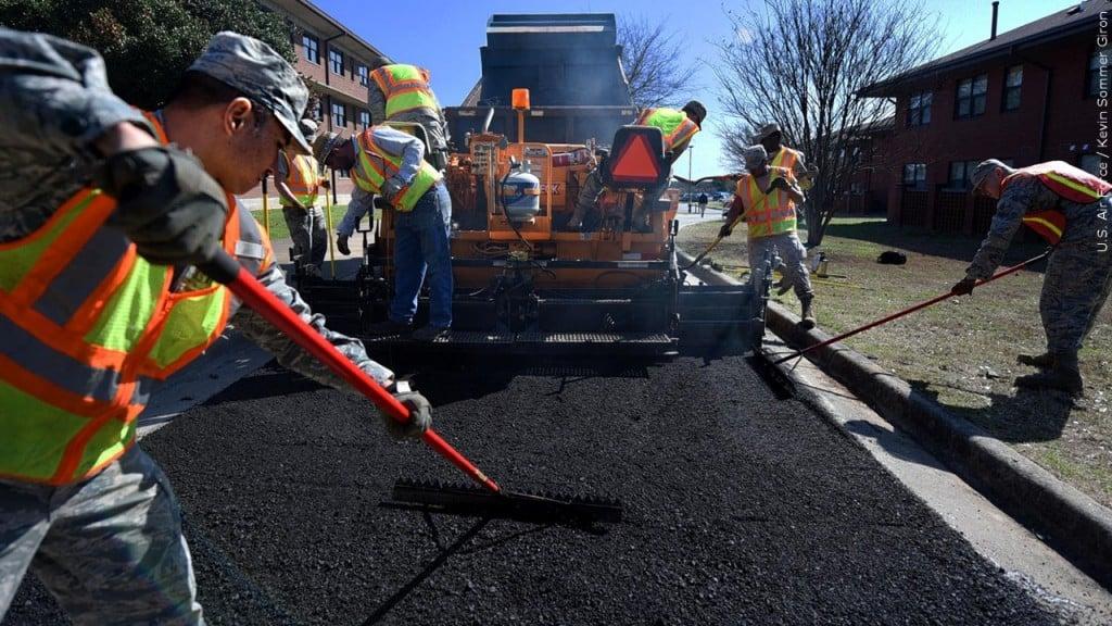Paving road work