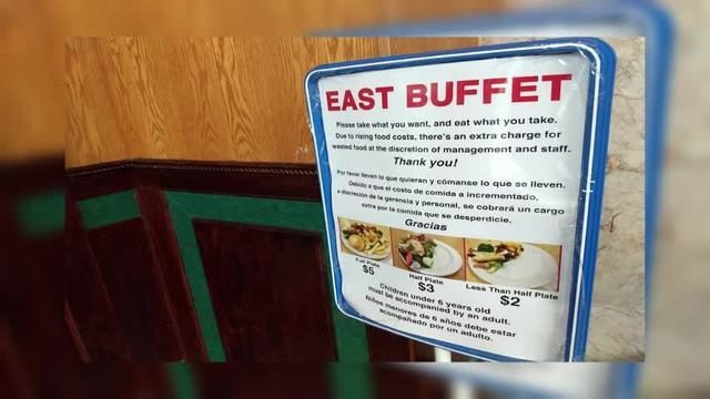 Local buffet owner reacts to customer response on food waste sign