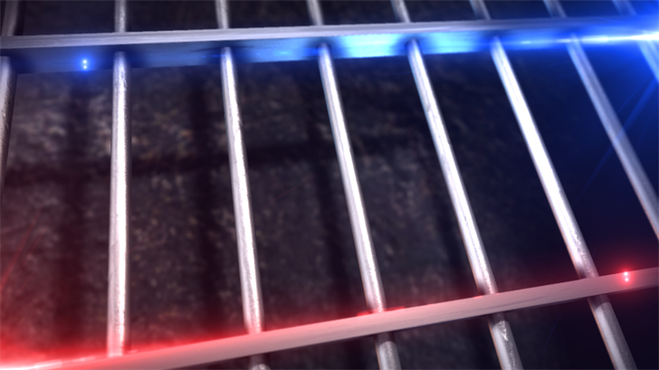 Jail bars, red and blue lights graphic, MGN Image