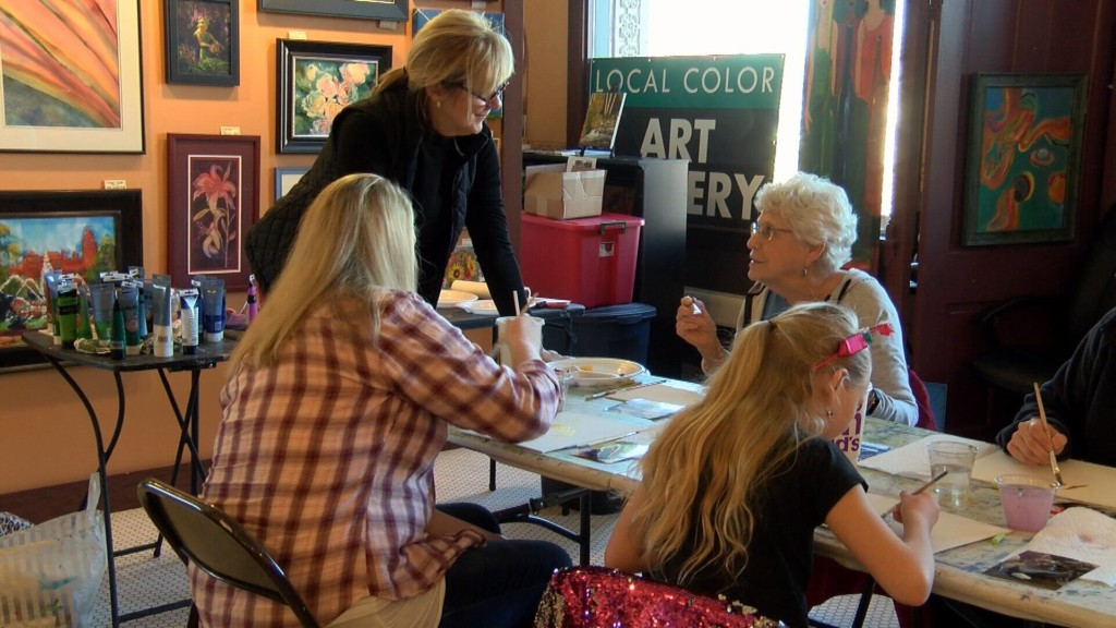 Painting class features pets as art subject