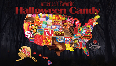 Interactive map for Candystore.com's most popular Halloween candy by state