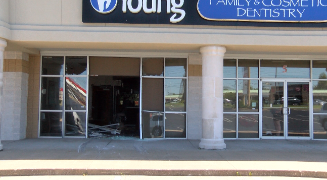 Car crashes into Young Family and Cosmetics Dentistry