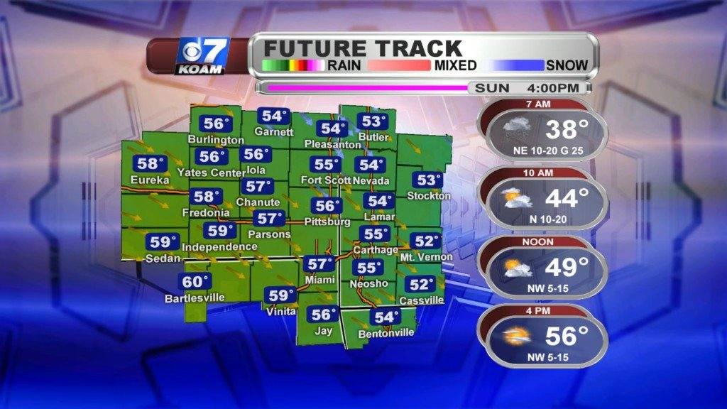 Early Sunday AM April 14th – Rain chances to start the day out