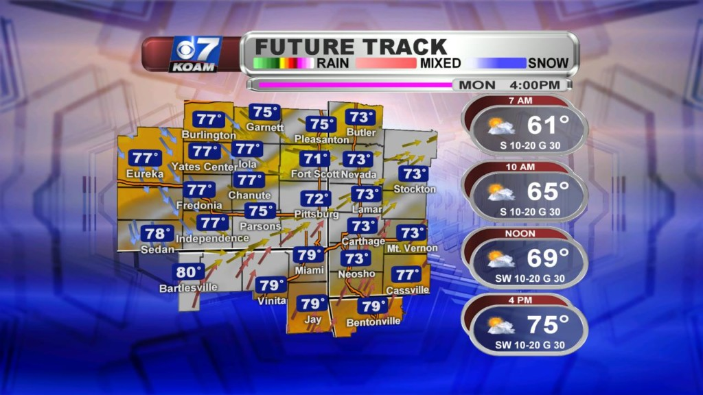 Early Monday April 22nd – T-Storm chances start to return