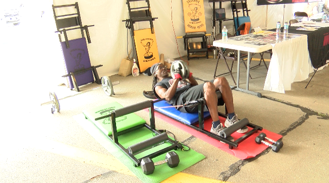 A truck driver creates a fitness bench to help keep fellow truck drivers healthy