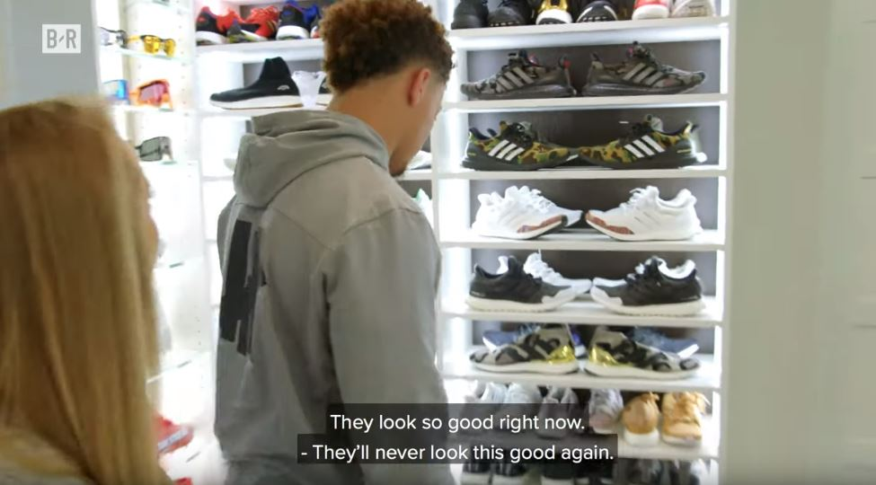 Mahomes shows off his collection of 180 pairs of shoes