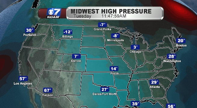 High Pressure dominates the Midwest