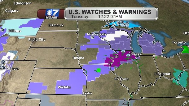 Midwest Warnings with impending winter weather