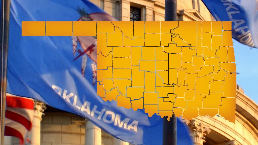Oklahoma map, state flag