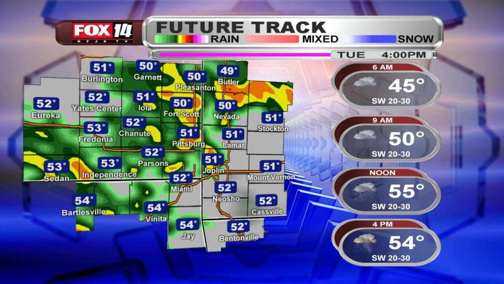 Tuesday AM Blog: Showers and thunderstorms with some heavy amounts of rain.