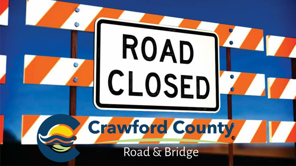 Road closures from storm damage in Crawford County