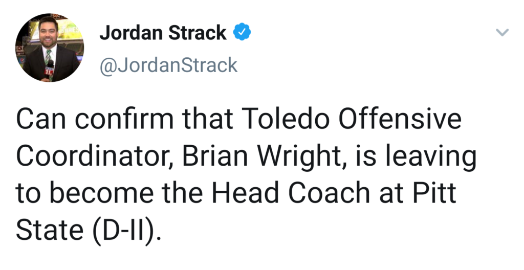 Report: Toledo OC Brian Wright to be named Pitt State head football coach