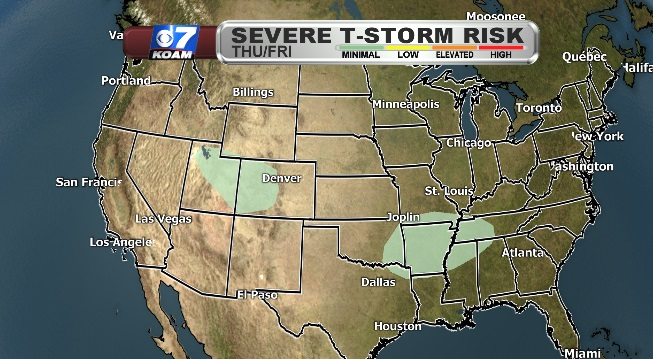 Severe Thunderstorm Risk map for Thursday into Friday