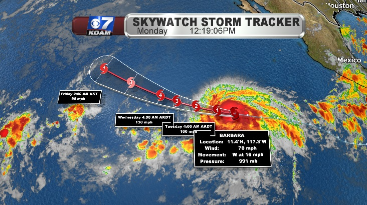 Tropical Storm Barbara approaches hurricane force