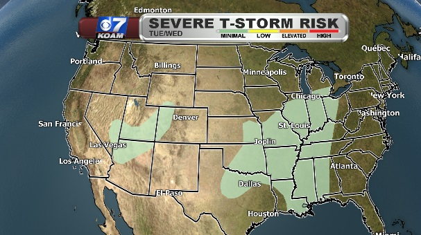 Severe Thunderstorm Risk Map – Tuesday