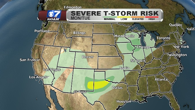 Severe Thunderstorm Map for Monday/Tuesday