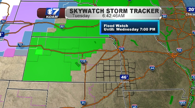 Flood Watches sit west of Four States