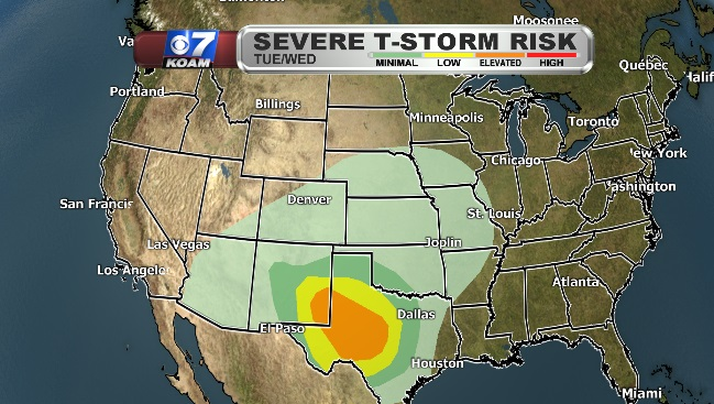 Severe Thunderstorm Risk Map for Tuesday