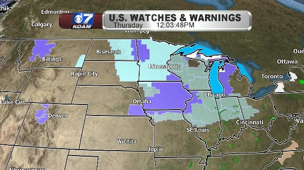 Watches & Warnings with cold front
