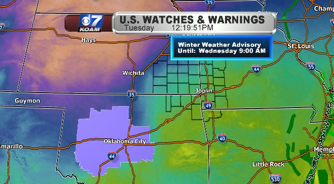 While it's 60 in the Four States, Winter Weather Advisories hit Oklahoma