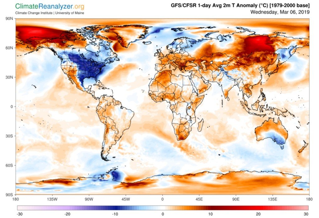 U.S. dominating highest below-average temperatures worldwide
