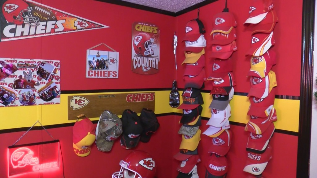 wall in the chiefs fan cave