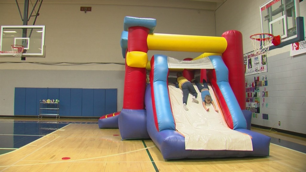 inflatable slide at parsons open gym