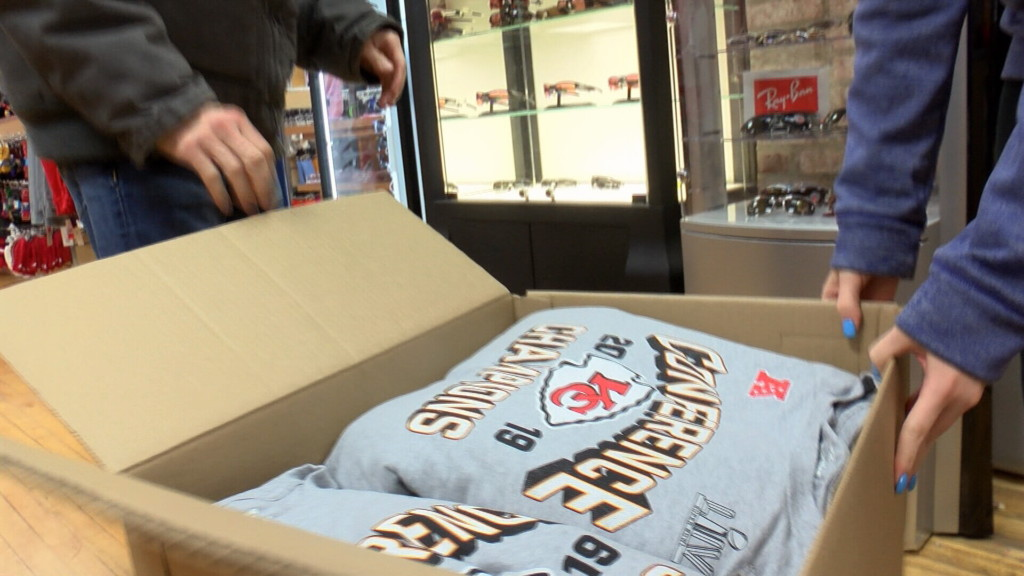 Chiefs gear being unboxed