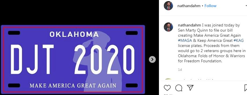 OK License Plate proposal image on Instagram