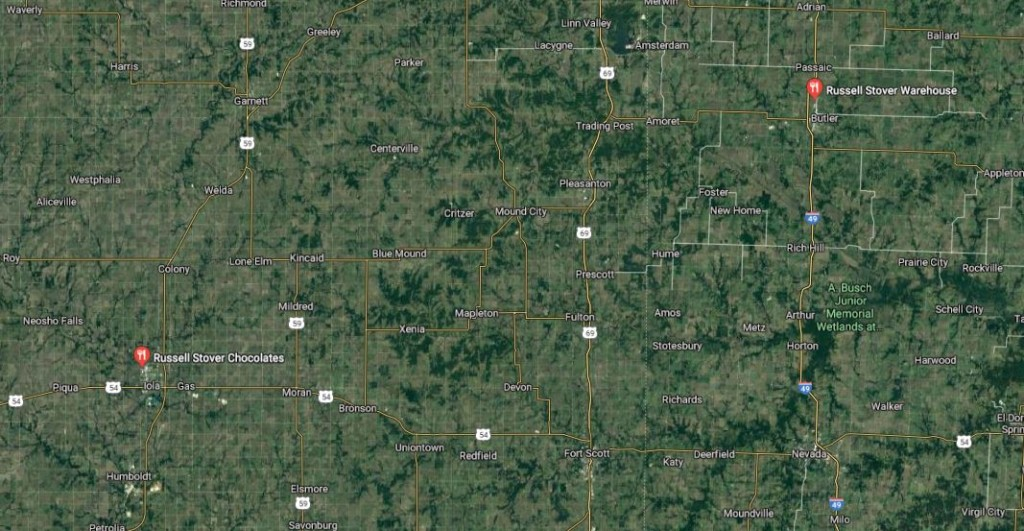 Google map of Russell Stover locations in Iola and Butler