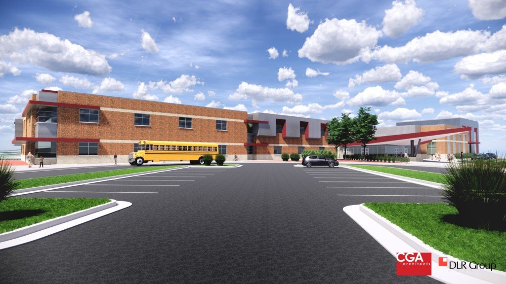 Rendering of proposed school on Dover Hill