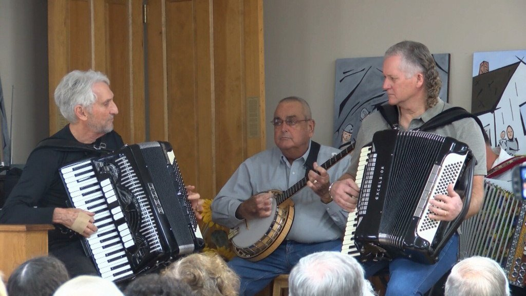 People listen to polka music and its local history in Franklin, Kansas