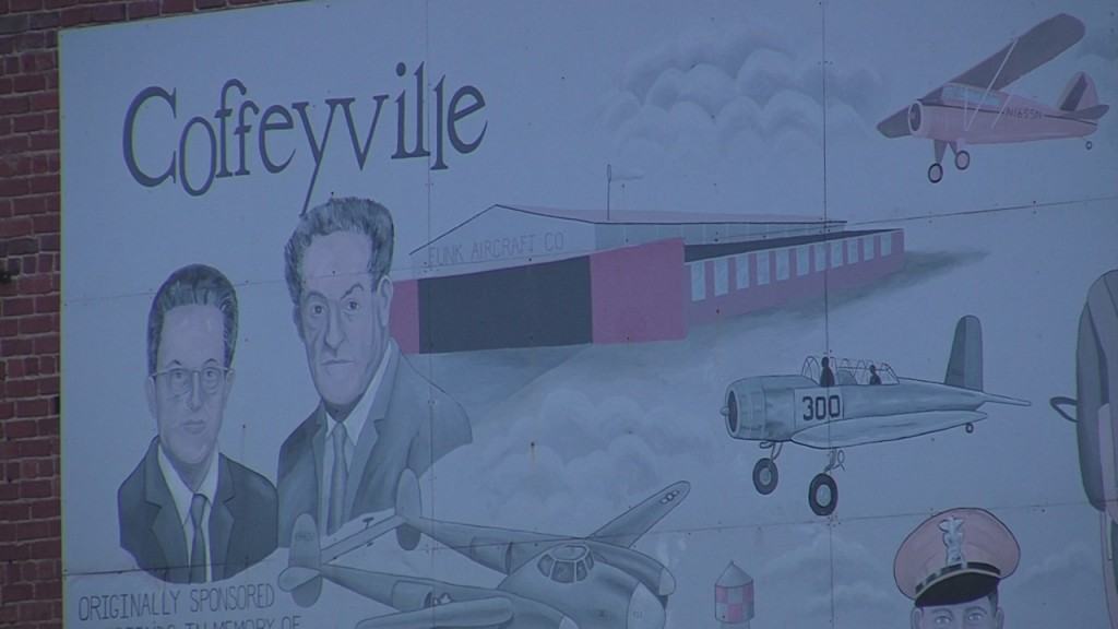 Mural that says Coffeyville and depicts houses, planes and people