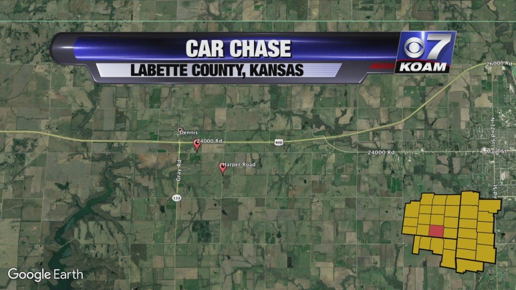 map showing location of car chase