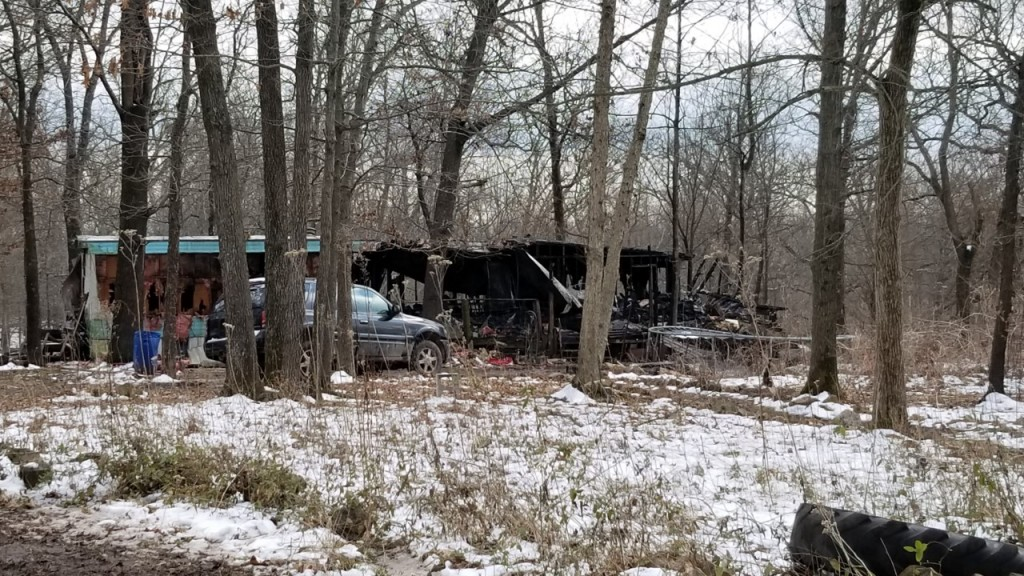 picture of trailer destroyed by fire