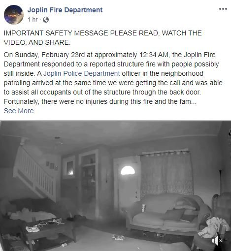 Joplin Fire Department post on house fire and safety