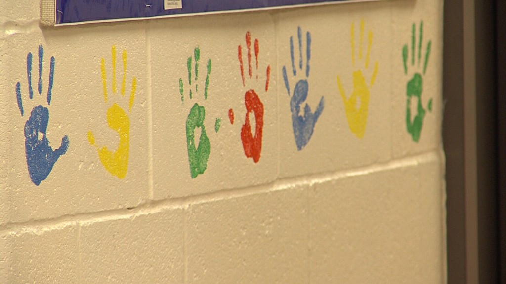 Colorful hand prints on a white wall