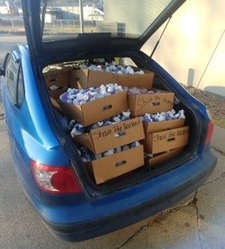 car full of donations
