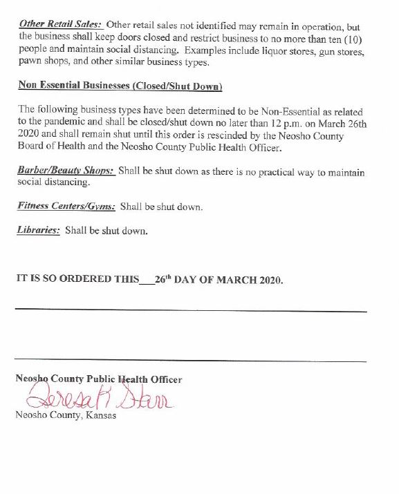 Neosho County, Kan. Health Order, March 25, 2020 (4)