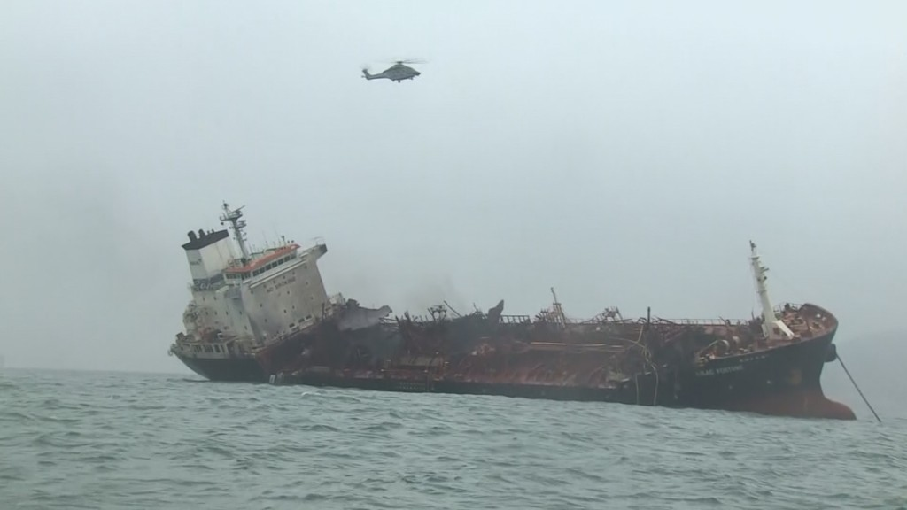 1 dead after oil tanker catches fire south of Hong Kong