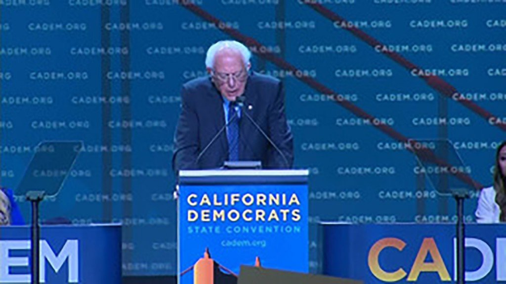 Sanders takes jab at Biden for not attending Calif. convention