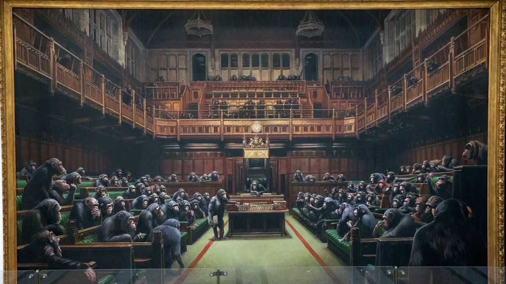 Banksy's chimp-filled Parliament up for sale amid Brexit chaos