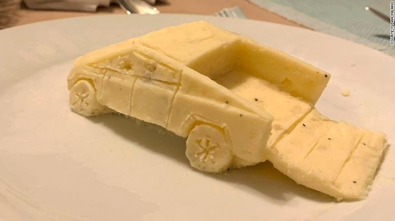 Guy sculpts Tesla's Cybertruck out of mashed potatoes