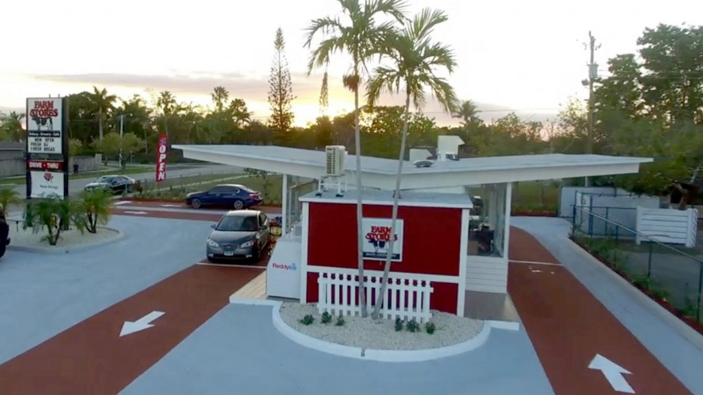These drive-thru stores are made out of recycled shipping containers